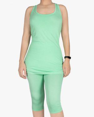 تاپ و شلوارک زنانه اسپرت - سبز شبرنگ - رو به رو