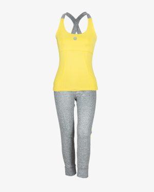 تاپ و شلوارک ورزشی زنانه - زرد - روبهرو - خرید اینترنتی لباس - فروشگاه اینترنتی لباس سارابارا
