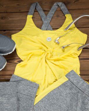 تاپ و شلوارک ورزشی زنانه - زرد - محیطی - خرید اینترنتی لباس - فروشگاه اینترنتی لباس سارابارا