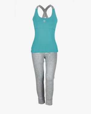 تاپ و شلوارک ورزشی زنانه - سبزآبی - روبهرو - خرید اینترنتی لباس - فروشگاه اینترنتی لباس سارابارا