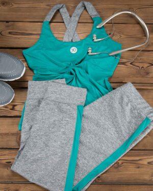 تاپ و شلوارک ورزشی زنانه - سبزآبی - محیطی - خرید اینترنتی لباس - فروشگاه اینترنتی لباس سارابارا
