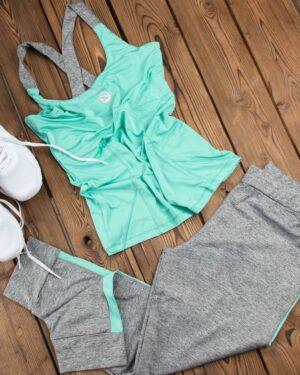 تاپ و شلوارک ورزشی زنانه - سبز زمردی - محیطی - خرید اینترنتی لباس - فروشگاه اینترنتی لباس سارابارا