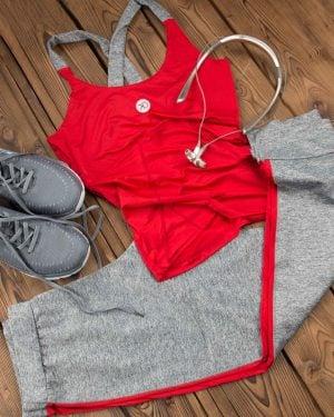 تاپ و شلوارک ورزشی زنانه - قرمز - محیطی - خرید اینترنتی لباس - فروشگاه اینترنتی لباس سارابارا