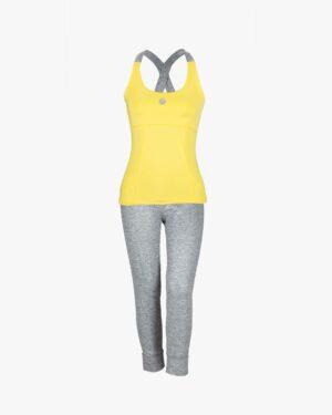 تاپ و شلوارک ورزشی زنانه - زرد - رو به رو تاپ شلوارک