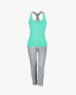 تاپ و شلوارک ورزشی زنانه - سبز زمردی - رو به رو تاپ شلوارک