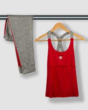 تاپ و شلوارک ورزشی زنانه - قرمز - ست تاپ شلوارک