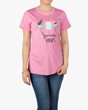 تیشرت دخترانه طرح دار با طرح بستنی - صورتی روشن- روبهرو - خرید اینترنتی لباس - فروشگاه اینترنتی لباس سارابارا