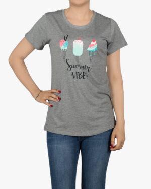 تیشرت دخترانه طرح دار با طرح بستنی - ملانژ - روبهرو - خرید اینترنتی لباس - فروشگاه اینترنتی لباس سارابارا