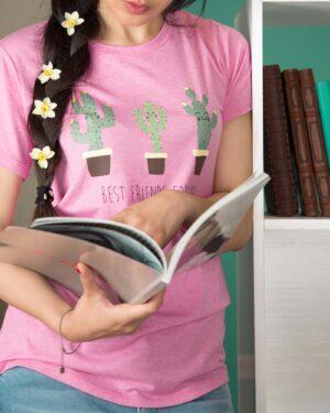 تیشرت آستین کوتاه نخی زنانه با طرح کاکتوس - صورتی روشن - محیطی