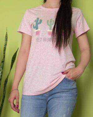 تیشرت آستین کوتاه نخی زنانه با طرح کاکتوس - صورتی پاستیلی - محیطی