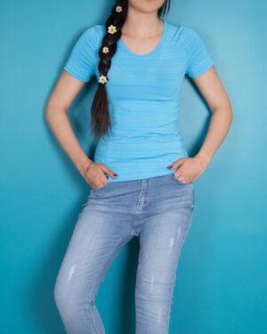 تیشرت دخترانه اسپرت -آبی روشن - محیطی - خرید اینترنتی لباس - فروشگاه اینترنتی لباس سارابارا