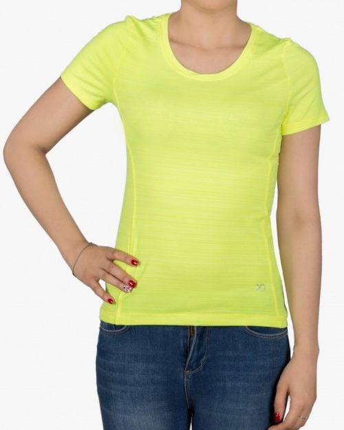 تیشرت آستین کوتاه ورزشی زنانه - زرد - رو به رو
