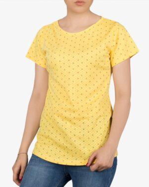 تیشرت زنانه آستین کوتاه با طرح لنگر - زرد - روبهرو - خرید اینترنتی لباس - فروشگاه اینترنتی لباس سارابارا