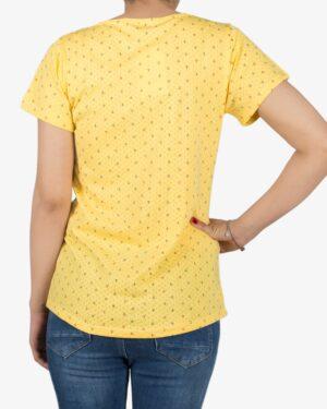 تیشرت زنانه آستین کوتاه با طرح لنگر - زرد - پشت - خرید اینترنتی لباس - فروشگاه اینترنتی لباس سارابارا
