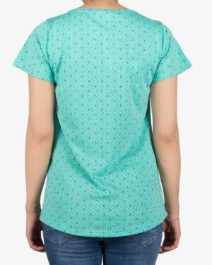 تیشرت زنانه آستین کوتاه با طرح لنگر - سبزآبی روشن - پشت - خرید اینترنتی لباس - فروشگاه اینترنتی لباس سارابارا