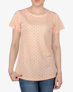 تیشرت زنانه آستین کوتاه با طرح لنگر - هلویی سیر - روبهرو - خرید اینترنتی لباس - فروشگاه اینترنتی لباس سارابارا