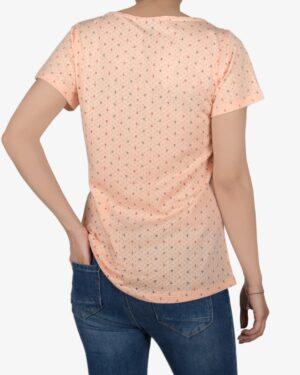 تیشرت زنانه آستین کوتاه با طرح لنگر - هلویی سیر - پشت - خرید اینترنتی لباس - فروشگاه اینترنتی لباس سارابارا