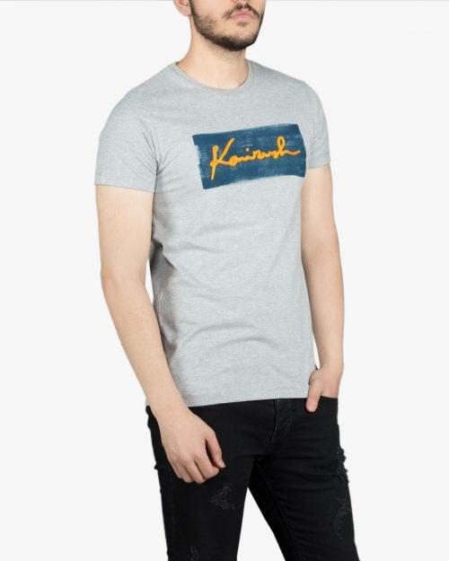 تیشرت آستین کوتاه ملانژ طرح دار با چاپ رنگی - زرد - روبهرو