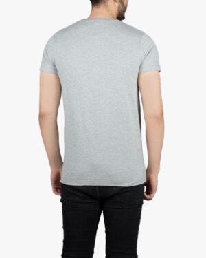 تیشرت آستین کوتاه ملانژ طرح دار با چاپ رنگی - قرمز - پشت