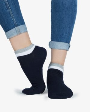 جوراب نخی با لبهی رنگی - طوسی کمرنگ- روبهرو۱