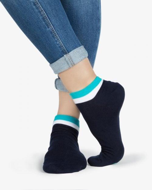 جوراب نخی با لبهی رنگی -آبی فیروزهای - روبهرو۱