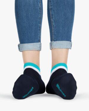 جوراب نخی با لبهی رنگی -آبی فیروزهای - روبهرو۲