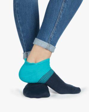 جوراب نخی دو رنگ راه راه - آبی فیروزهای- روبهرو۲