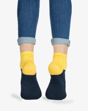 جوراب نخی دو رنگ - زرد - پشت