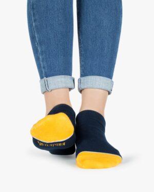 جوراب نخی طرحدار - زرد - روبهرو۲