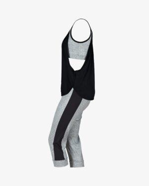 ست تاپ شلوارک زنانهی چیندار - مشکی - بغل - خرید اینترنتی لباس - فروشگاه اینترنتی لباس سارابارا