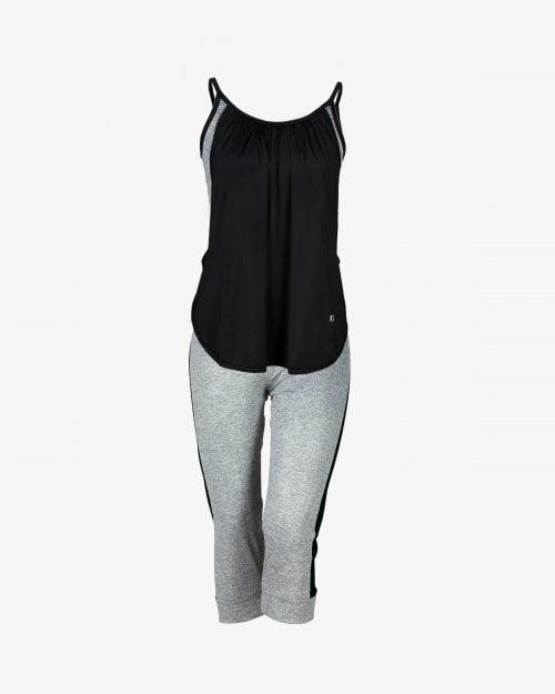 ست تاپ شلوارک زنانه چیندار - مشکی - روبهرو - خرید اینترنتی لباس - فروشگاه اینترنتی لباس سارابارا