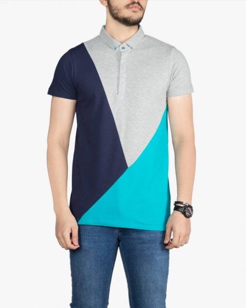 پولوشرت مردانه سه رنگ - آبی فیروزه ای - روبهرو - خرید اینترنتی لباس - فروشگاه اینترنتی لباس سارابارا