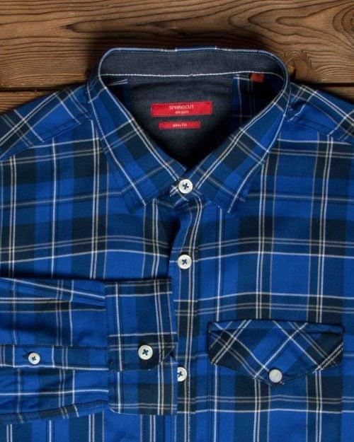 پیراهنمردانه - چارخونه - آبی - یقه آستین