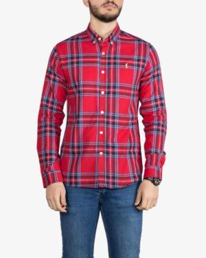 پیراهن آستین بلند چهارخانه درشت قرمز - قرمز - رو به رو
