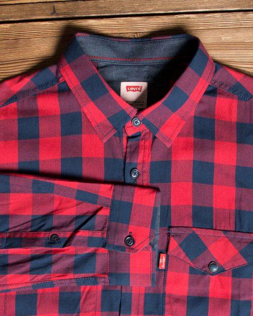 پیراهن آستین بلند چهارخانهی ریز - قرمز - یقه مردانه