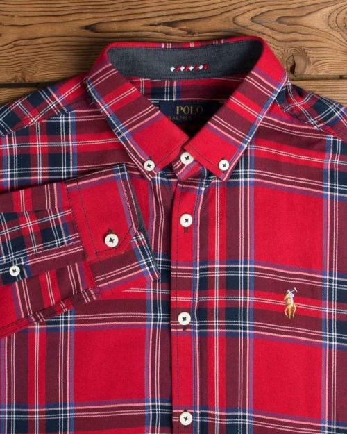 پیراهن آستین بلند چهارخانه درشت قرمز - قرمز - یقه آستین