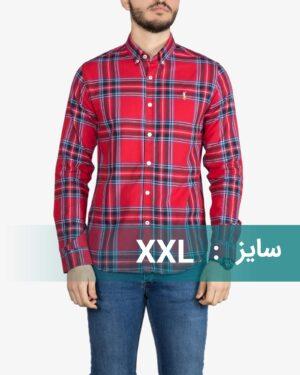 پیراهن آستین بلند چهارخانه درشت قرمز