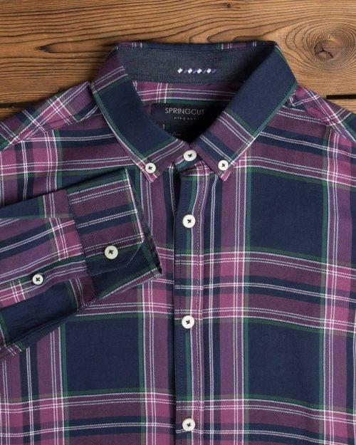 پیراهن آستین بلند چهارخانه مردانه - بنفش - یقه مردانه