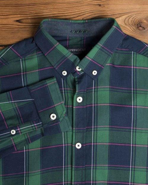پیراهن مردانه چهارخانه سبز سرمه ای - سبز - یقه