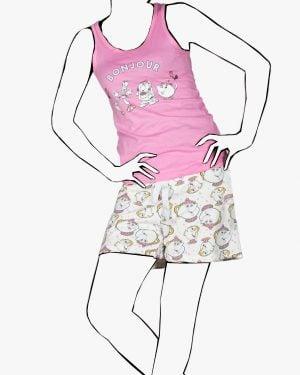 تاپ شلوارک راحتی فانتزی دخترانه - صورتی روشن - رو به رو - خرید اینترنتی لباس - فروشگاه اینترنتی لباس سارابارا