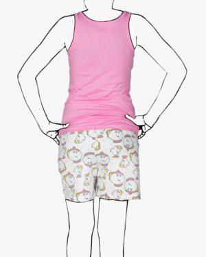 تاپ شلوارک راحتی فانتزی دخترانه - صورتی روشن - پشت - خرید اینترنتی لباس - فروشگاه اینترنتی لباس سارابارا