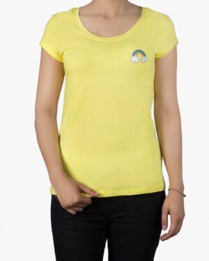 تیشرت یقه گرد زنانه - زرد - رو به رو