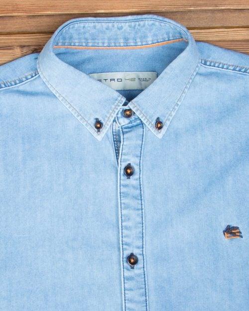 پیراهن آستین کوتاه جین - آبی نیلی - جزئیات