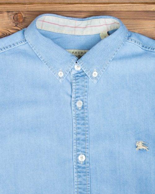 پیراهن مردانه جین آستین کوتاه - آبی نیلی - جزئیات