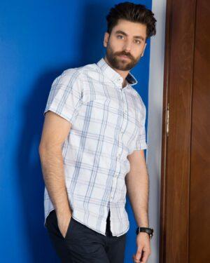پیراهن چهارخانه مردانه - سفید - محیطی