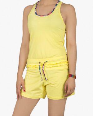 تاپ-شلوارک-دخترانه-خانگی-زرد-رو به رو