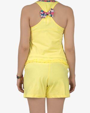 تاپ-شلوارک-دخترانه-خانگی-زرد-پشت