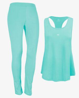 تاپ شلوار ورزشی زنانه - سبز زمردی - رو به رو