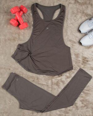 تاپ شلوار ورزشی زنانه - طوسی - محیطی