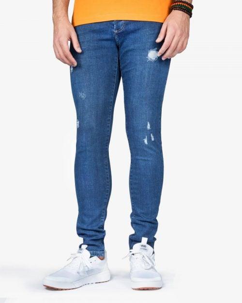 شلوار جین جذب زاپ دار مردانه - آبی تیره - رو به رو